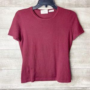 Neiman Marcus burgundy cashmere pullover sweater